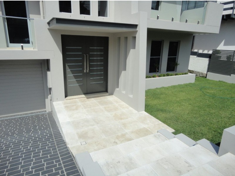 Stone stairs and house pathway paved with Aussietecture Cattai marble pavers