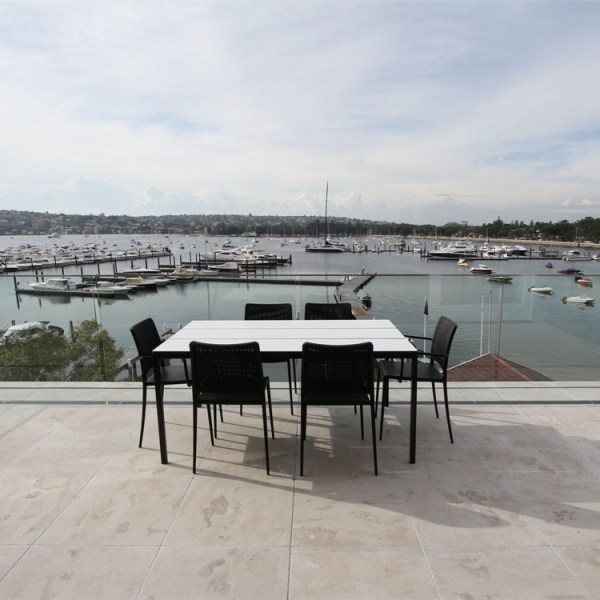 Cattai marble tumbled pavers used in outdoor entertainment area flooring