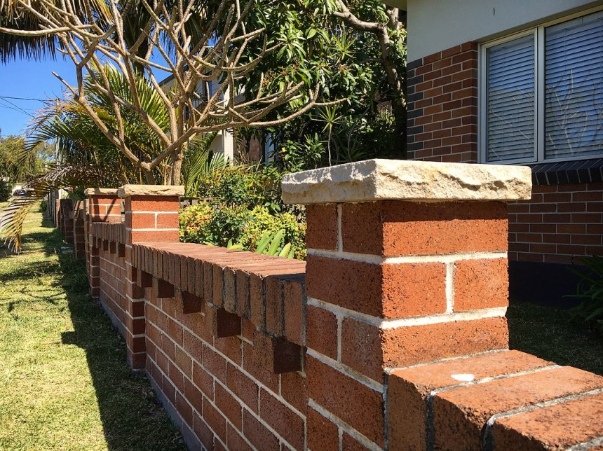 Landscaping project of Aussietecture capping stone using in a brick wall