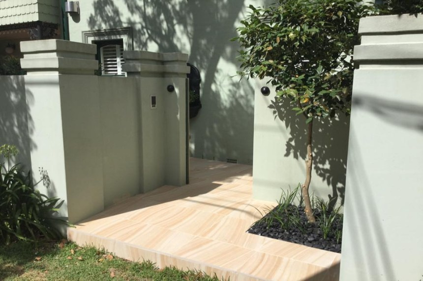 a residential house flooring project using Australian sandstone pavers
