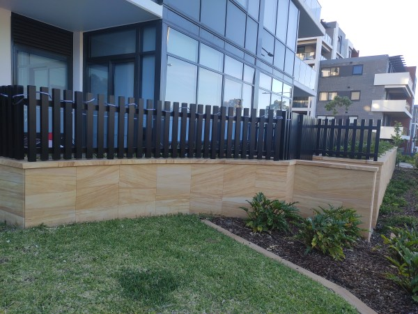 Sandblasted sandstone cladding / tiles in a landscaping project