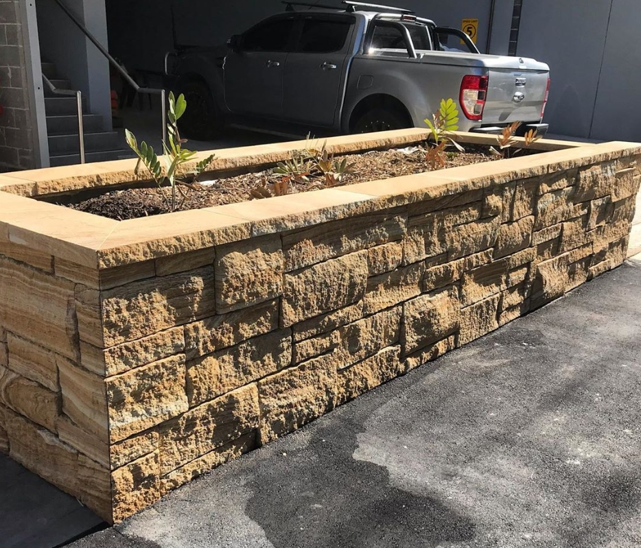 Australian banded brown sandstone seen in a garden design