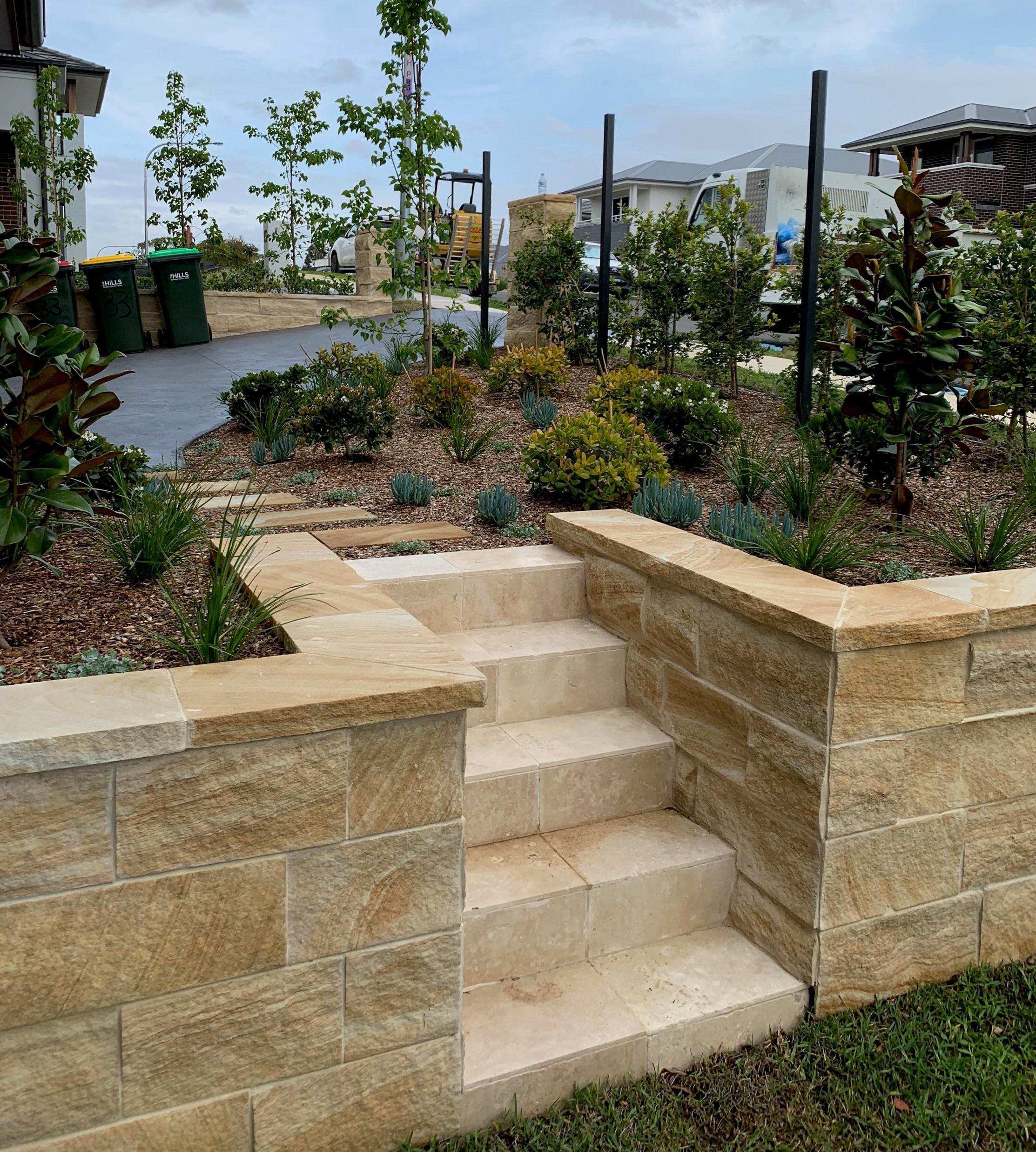 banded brown split blocks for garden edging