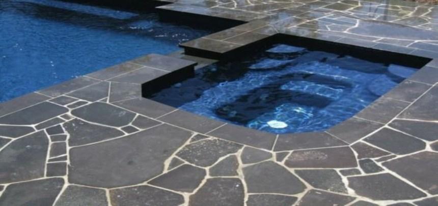Bluestone crazy paving swimming pool project
