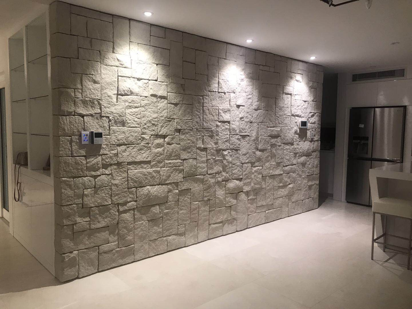 White colonial white sandstone in a interior wall project