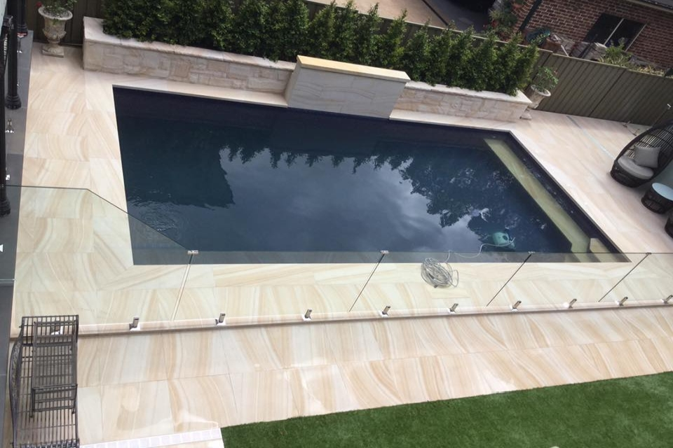 swimming pool floor with Urban series porcelain sandstone