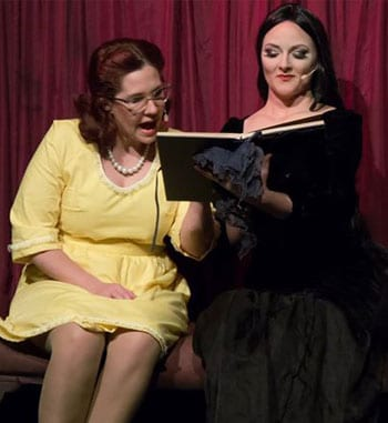 Natalie Ridoutt and Aurelie Rouque in The Addams Family - Brisbane Arts Theatre. [image supplied].