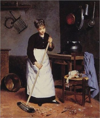 maid sweeping