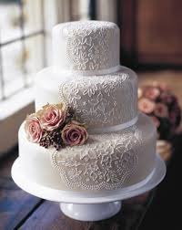 white lace wedding cake with pink roses
