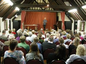 John Mullan in full flow in Chawton Village Hall
