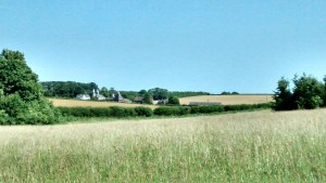 View to the left with traditional Kentish oasts (pointy buildings)