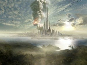 city-skyscrapers-future-fog-slopes-sea-sky-320x240