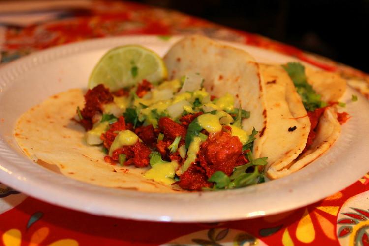 Rosita's al pastor tacos on flour. Photo: Stephen C. Webster.