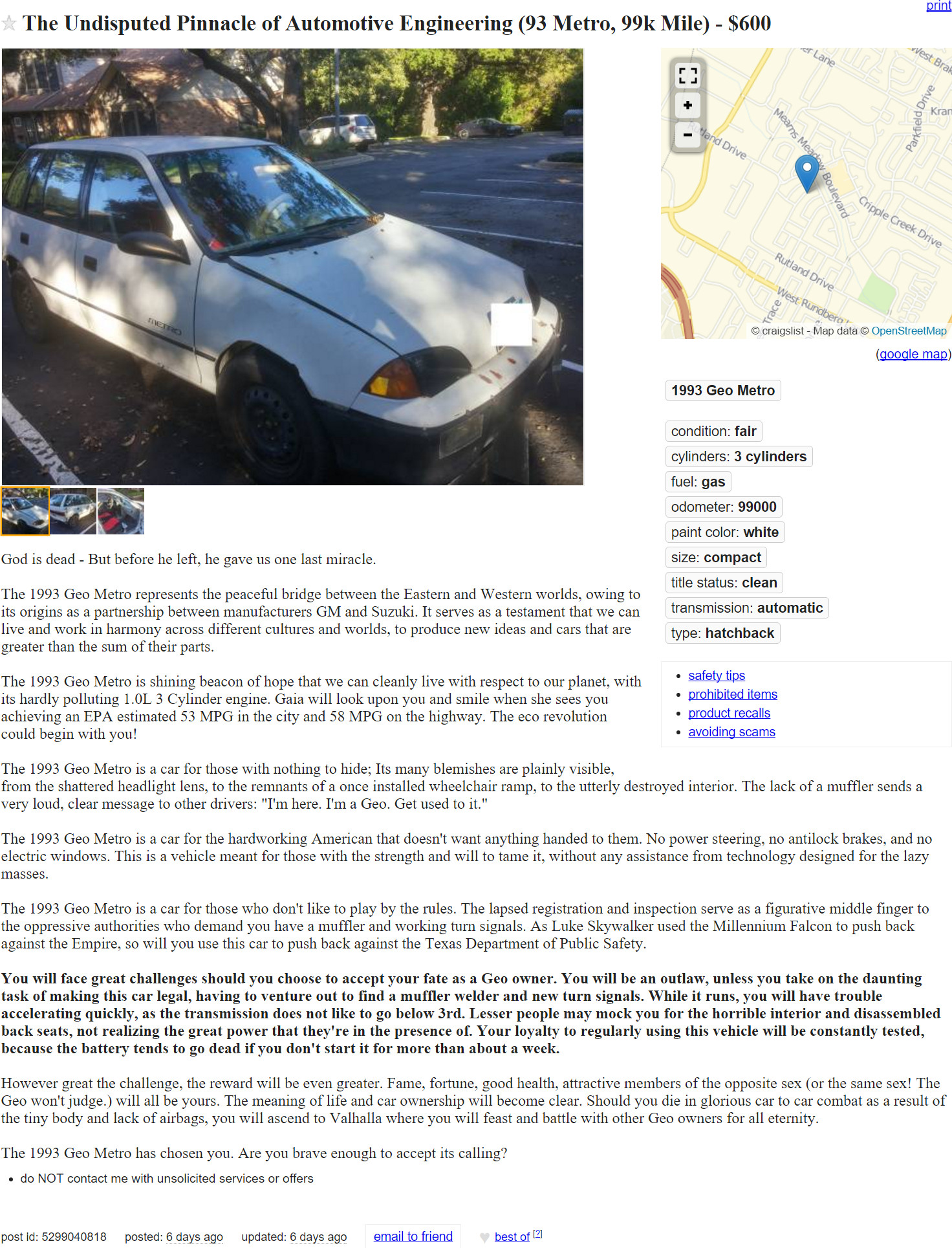 this epic craigslist ad for a 1993 geo metro is everything. Black Bedroom Furniture Sets. Home Design Ideas