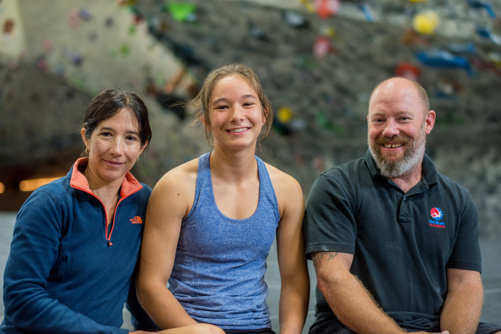 Monica Flores, Maya Madere, and John Myrick at North AUstin Rock Gym