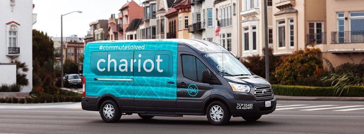 Chariot's fleet of vans make commuting to work a breeze. Photo via Facebook.
