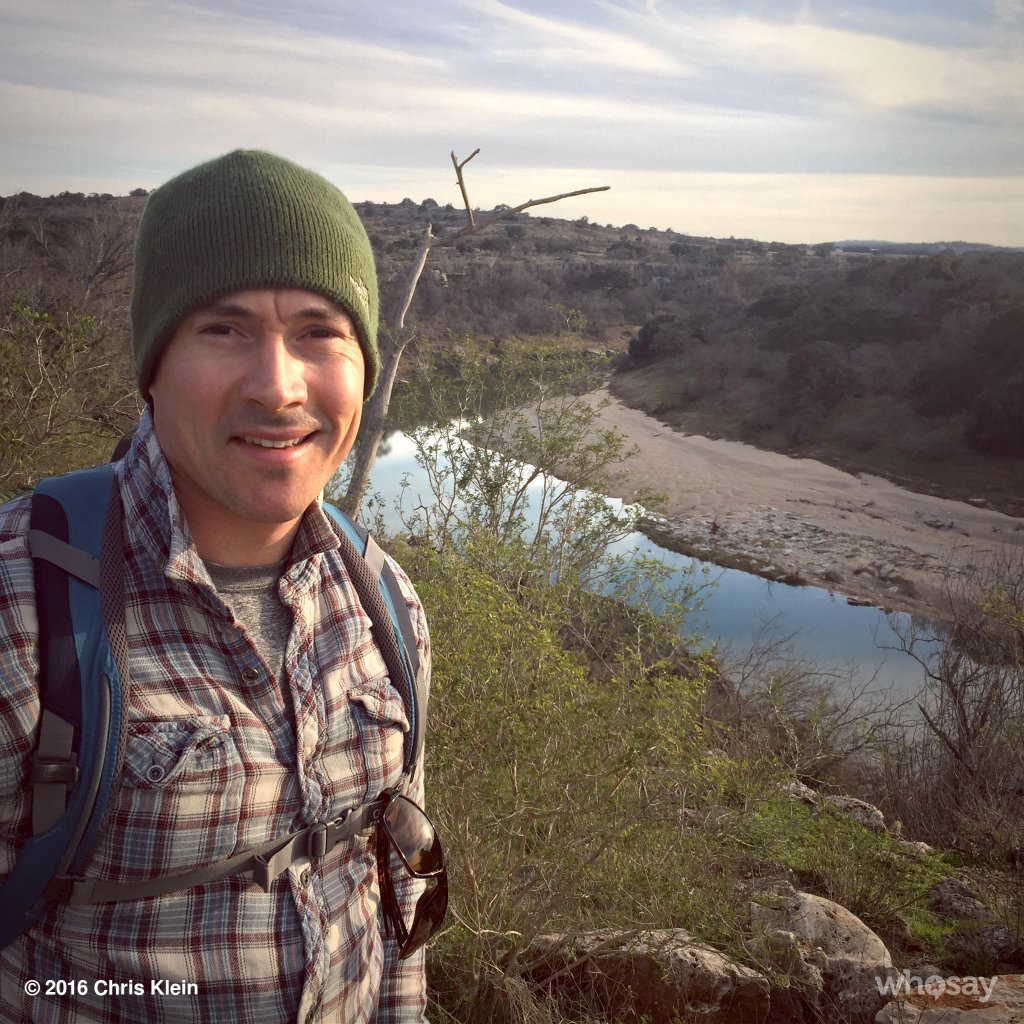 Hill Country hiking photo from Chris Klein's Twitter account.