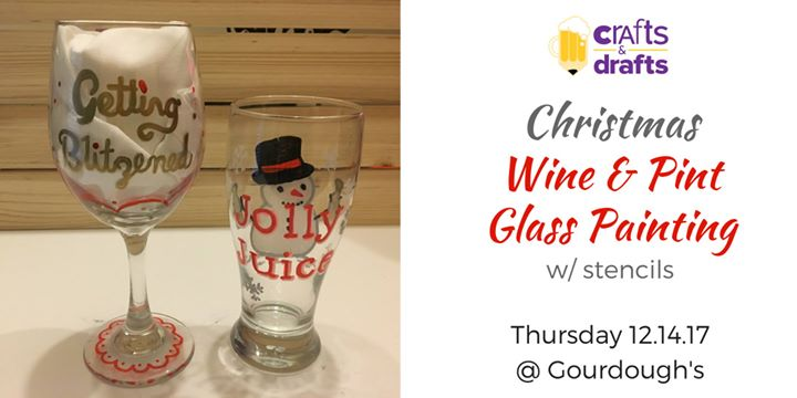 Crafts Drafts Christmas Wine And Pint Glass Painting Party