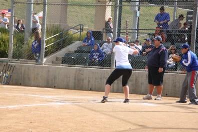 Blode batting in Softball