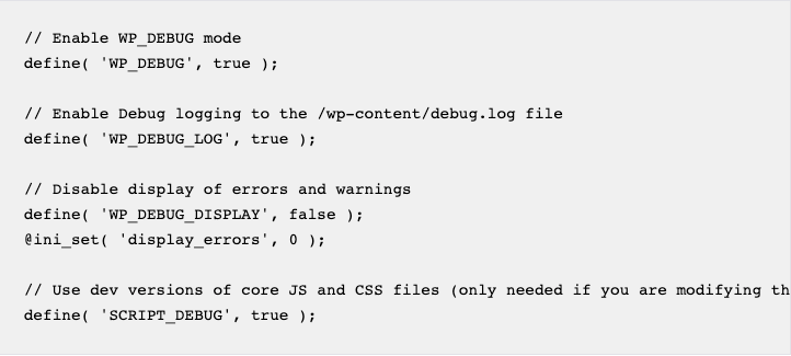 Example wp-config.php for Debugging