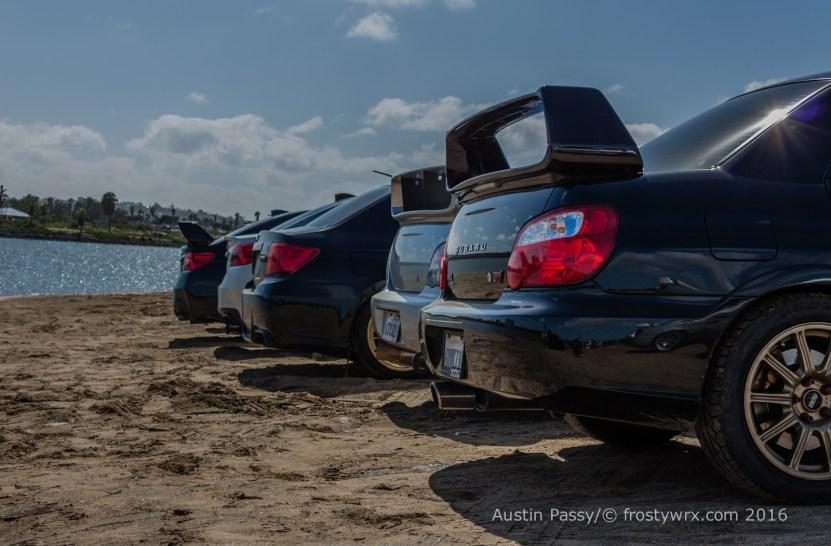 Subarus on Fiesta Island