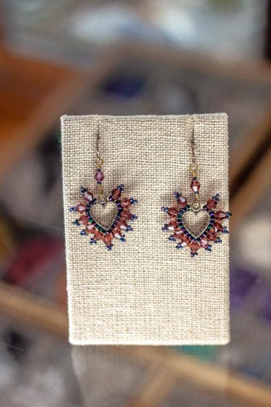 Crystal Heart Earrings - bead shop Austin