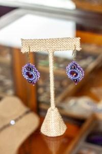 Purple Beaded Earings