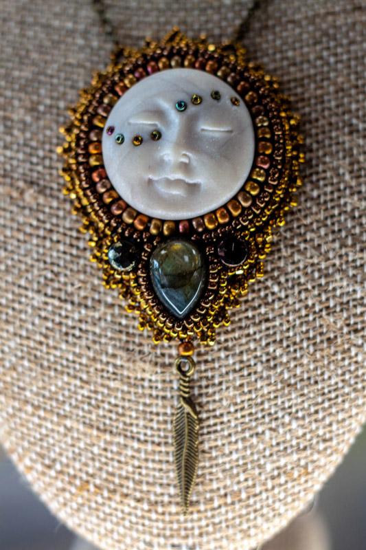 Pearl Clay Moon Face Pendant