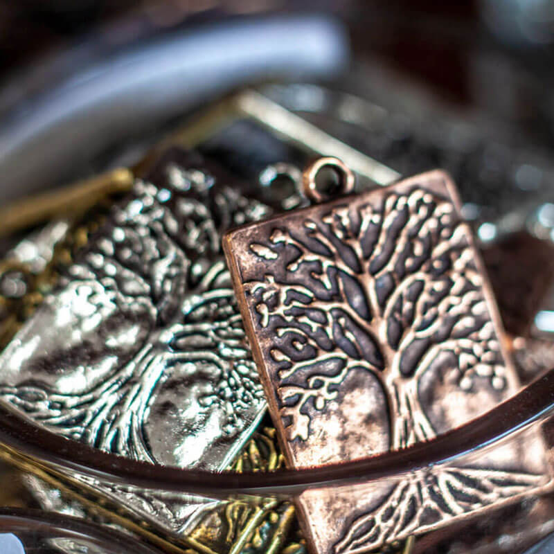 Metal Tree Charms Close-up