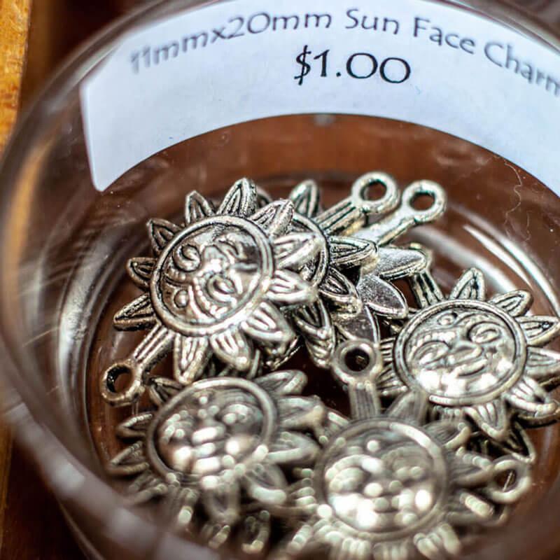 Silver Sun Charms - Beaded jewelry supplies Austin