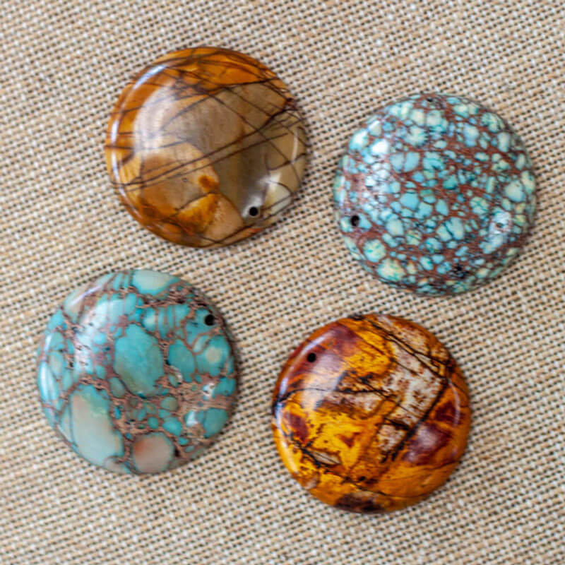 Round Jasper Pendants - jewelry tools Austin