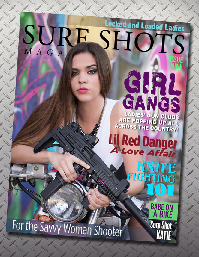 austin commercial photographer girl on motorbike with assault rifle
