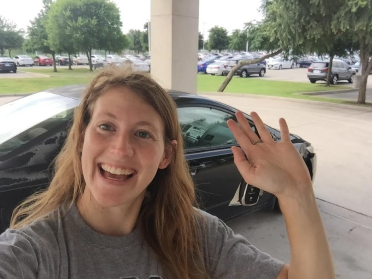 Amy saying goodbye to her Honda Civic