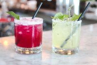 (left) BEET THE HEAT Beet infused No. 209 Gin, Canton Ginger, lemon, honey, ginger ale - 12.00 (right) CUCUMBER & SHISO MARGARITA$12.00 Tequila Cabeza, cucumber, shiso, lime, salted rim - 11.00