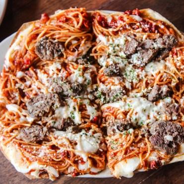Farina Cafe - Spaghetti & Meatball Pizza