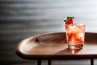 Stella San Jacinto Cocktail Rosy Bacardi, Lemon Basil, Black peppercorn