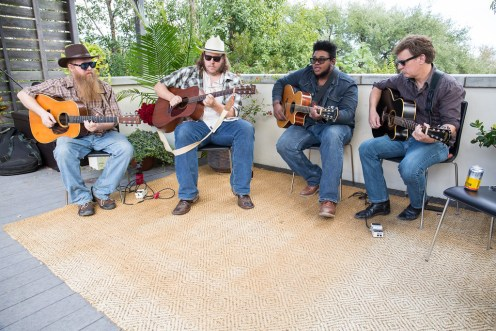 "(L -R) Musicians ""Cornbread"" Jason Daly, John Dango, Kalu James & Bruce Smith"