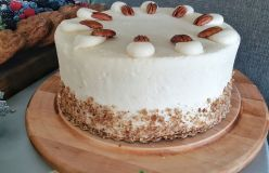 Humming Bird Cake - layered with pineapples, pecans and mashed bananas with spiced cinnamon topped with cream cheese icing