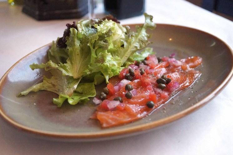 Salmon Carpaccio at Il Piatto, photo by Amy Drohen