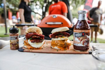 Tailgating Weber Grill Breakfast sandwiches