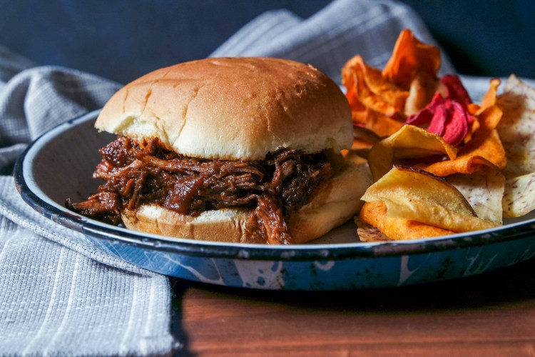 Beer-Braised Shredded Beef Sandwiches