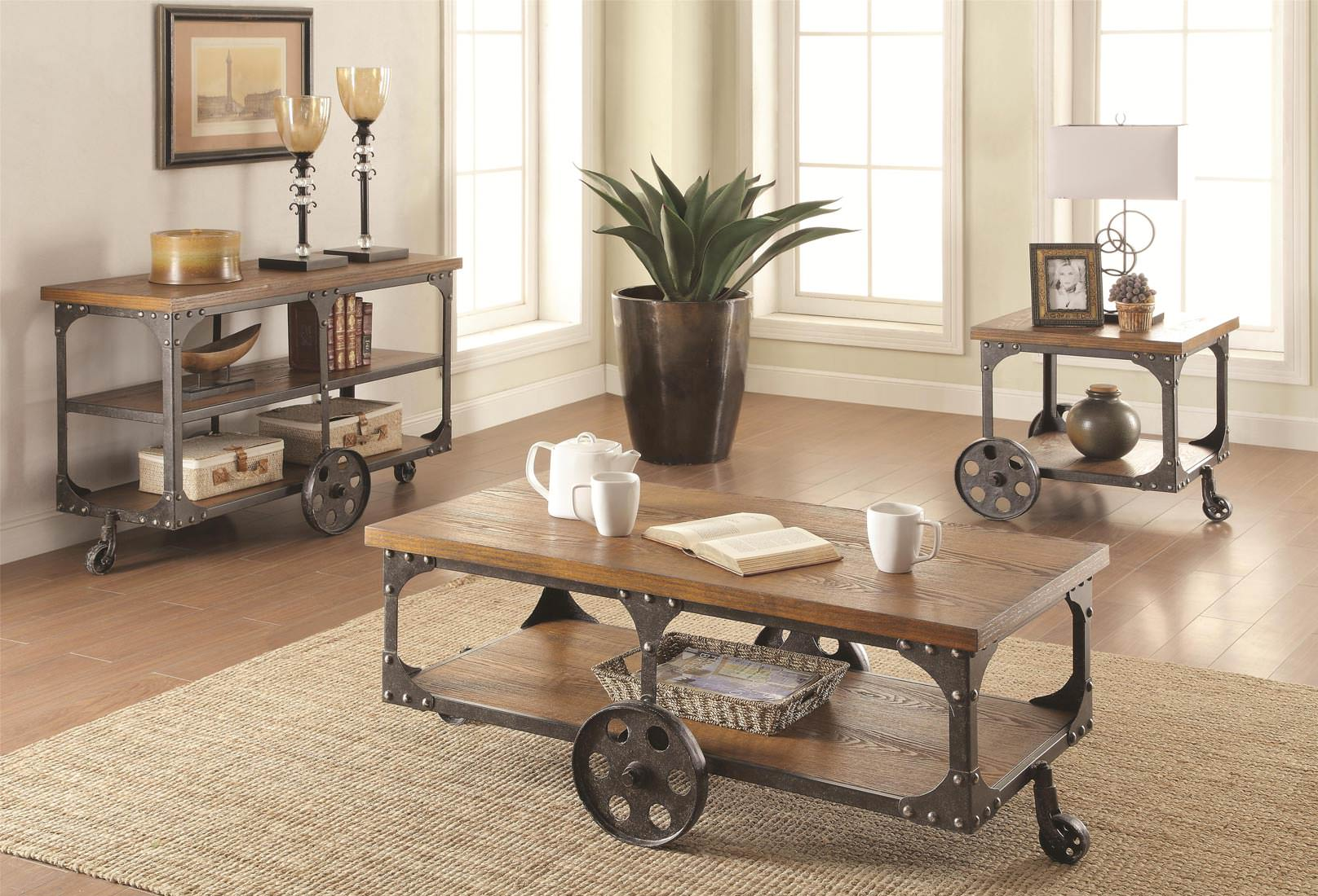 coaster distressed rustic accent tables group