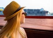 Nicole looking at the Chao Phraya