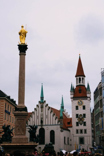 Munich Old City Hall and Mariensäule
