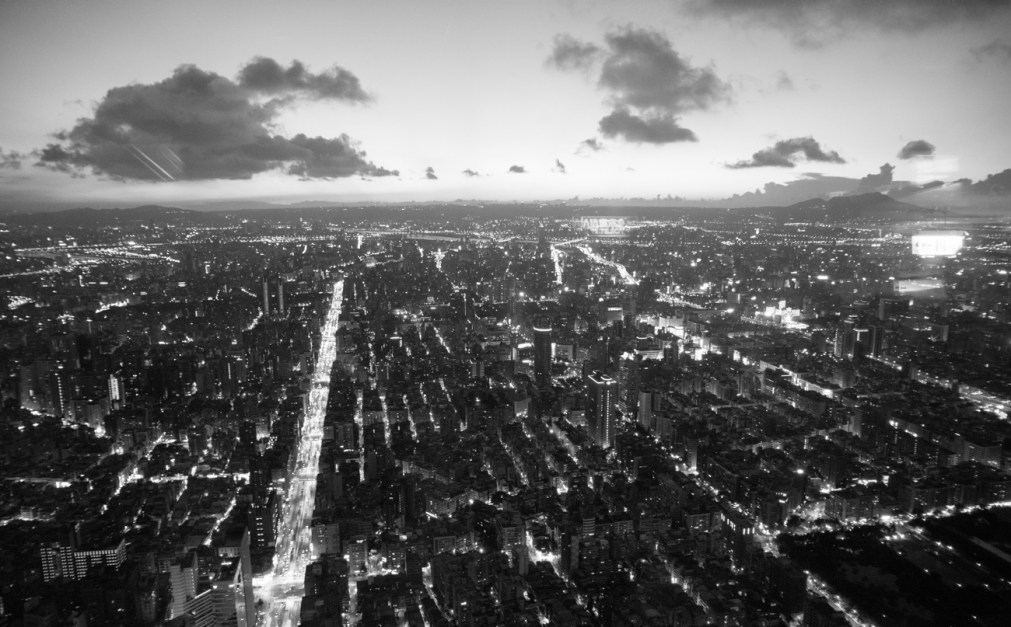 The view from the top of Taipei 101...in black and white