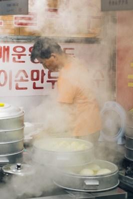 Making mandoo, Korean dumplings