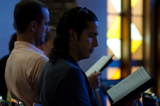 church people singing a hymn