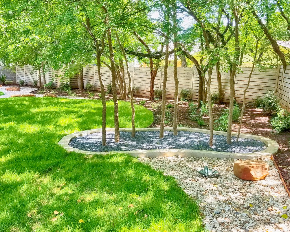 The Wells wanted a clean and bold modern landscaping in the front yard and  a more relaxed hill country look in the back. - Wells Residence – Austin Native Landscaping