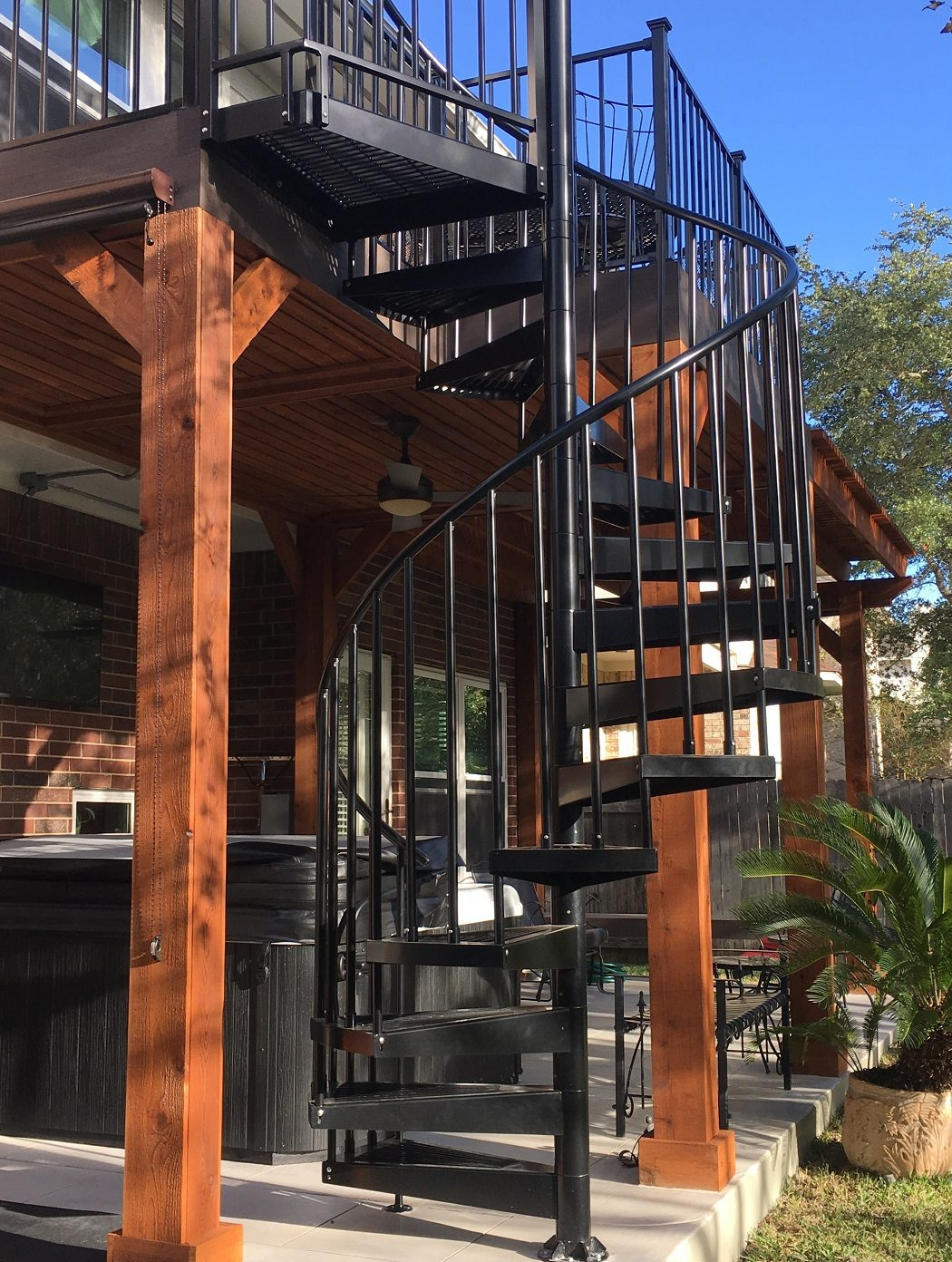 2 Story Decks Austin Decks Pergolas Covered Patios Porches More   Spiral Staircase For Outside Deck   Exterior   Spiral Stair Design   Attractive   Porch   Rooftop Deck