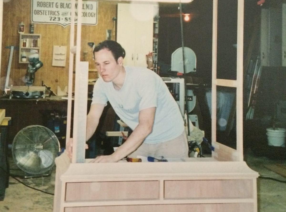 student furniture maker working on custom furniture